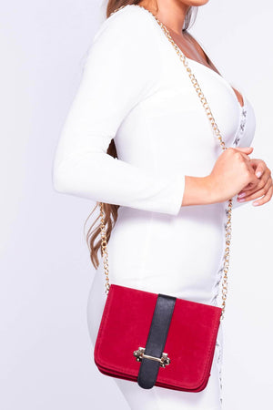 Red Suede Rectangle Contrast Cross Body Bag