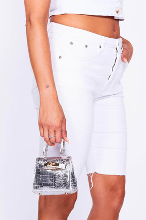 Metallic Silver Croc Micro Mini Bag