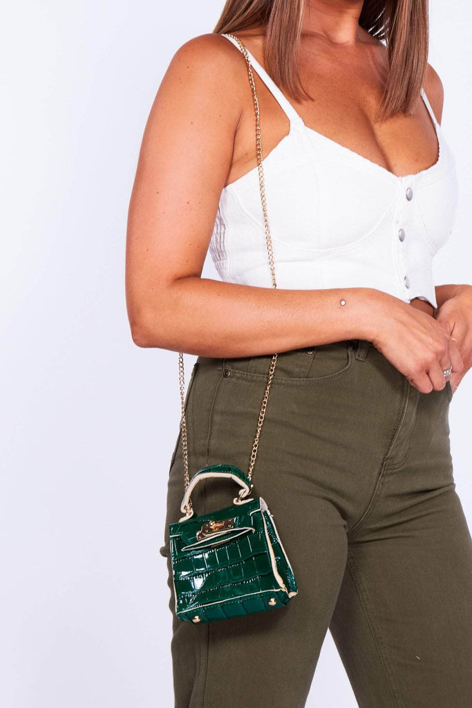 Green Croc Micro Mini Bag