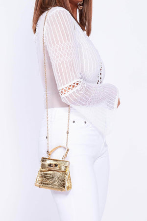 Metallic Gold Croc Micro Mini Bag