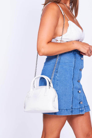 White Croc Mini Bag with Silver Chain