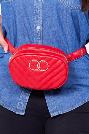 Red Pu Bum Bag with Circle Design