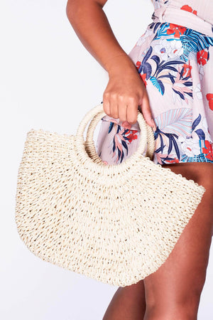 Cream Woven Beach Bag with Circle Handle