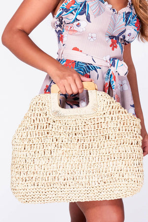 Nude Oversize Woven Bag with Wooden Handle