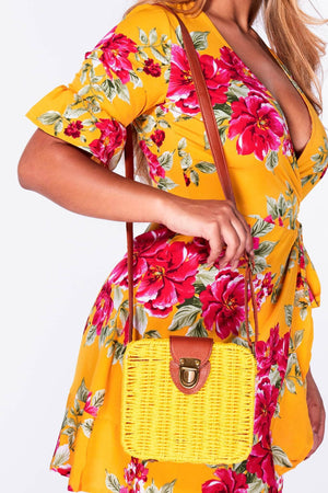 Yellow Straw Square Cross Body Bag