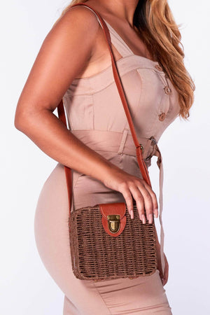 Brown Straw Square Cross Body Bag