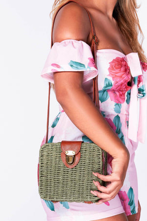 Green Straw Square Cross Body Bag