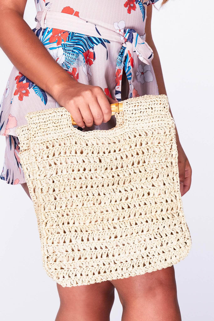 Natural Woven Rectangle Bag with Bamboo Handle