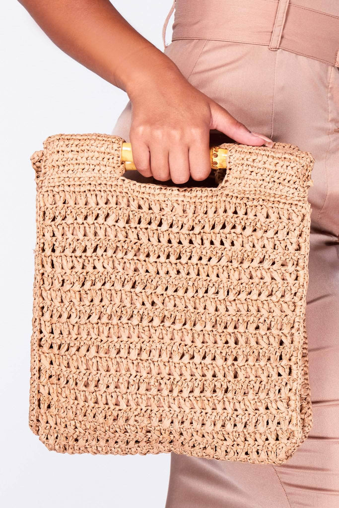 Tan Woven Rectangle Bag with Bamboo Handle