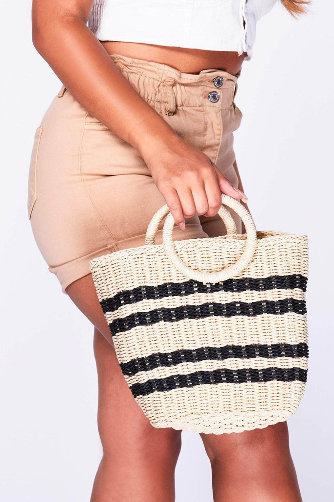 Nude & Black Stripe Woven Bucket Bag