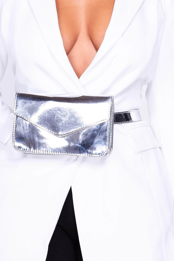 Silver Metallic Pu Envelope Bum Bag