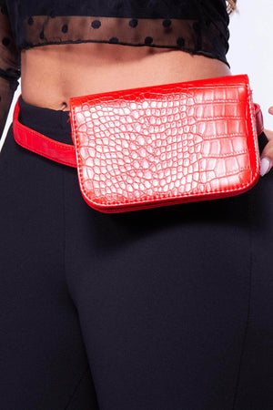 Red Pu Croc Rectangle Bum Bag