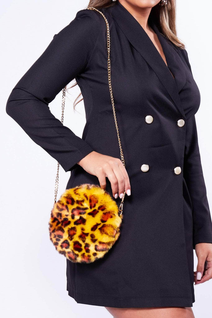 Orange Leopard Fur Circle Bag