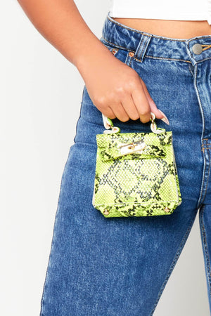 Neon Yellow Snake Micro Mini Bag