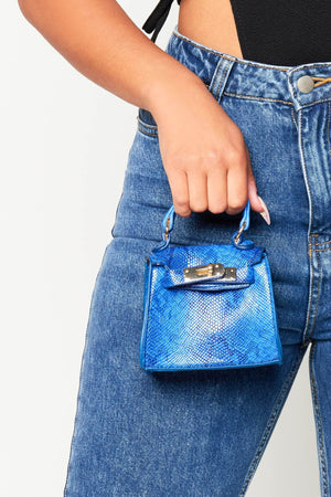 Blue Croc Mini Crossbody Bag