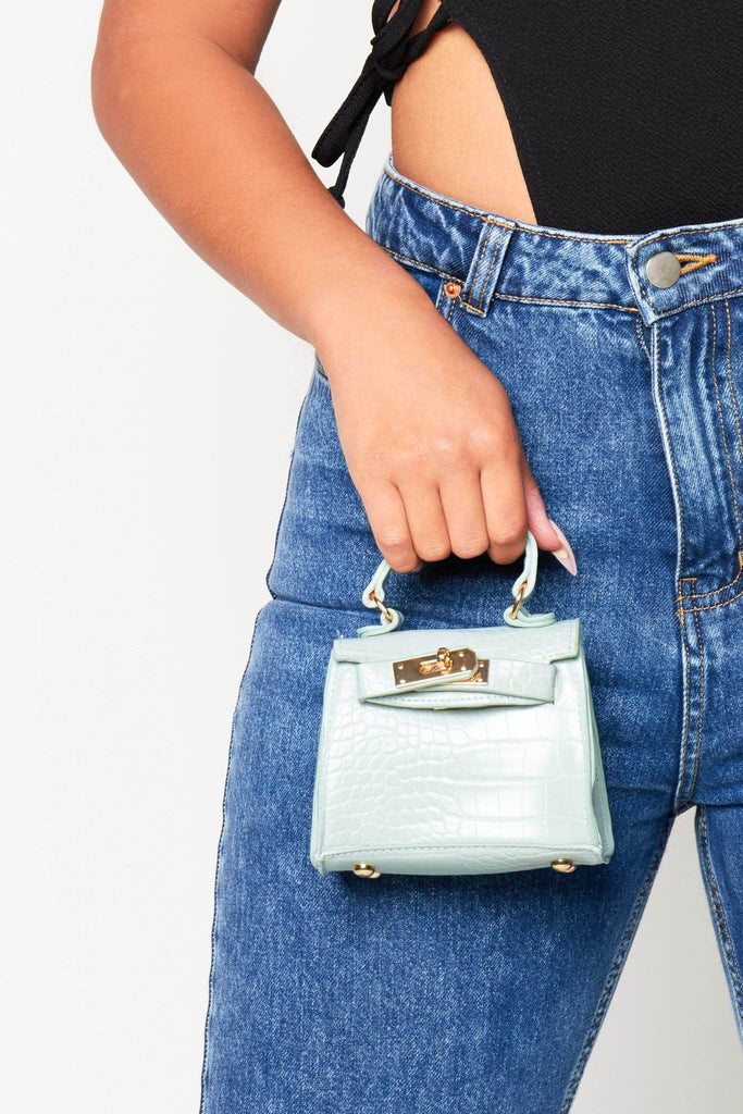 Mint Green Croc Mini Bag