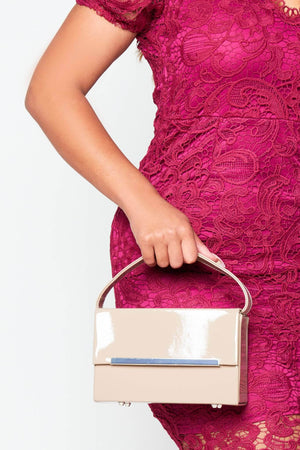Nude Patent Rectangle Box Bag