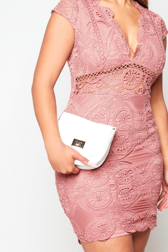 Cream Croc Envelope Crossbody Bag