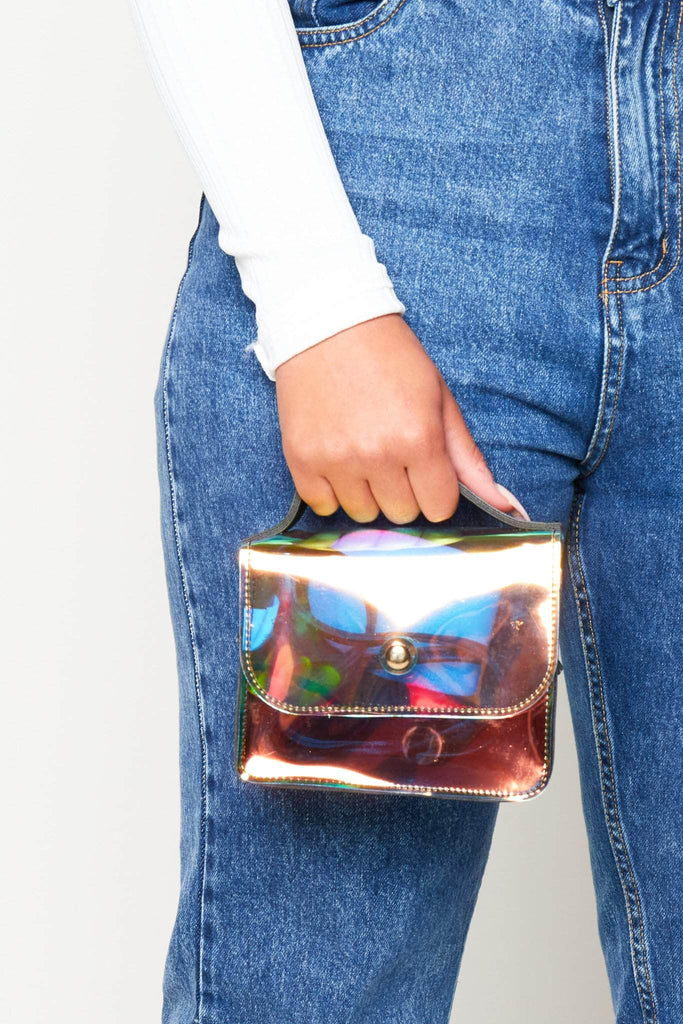 Holographic Black Mini Square Bag