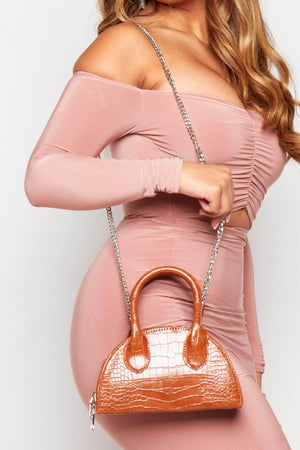 Tan Croc Semi Circle Crossbody Bag