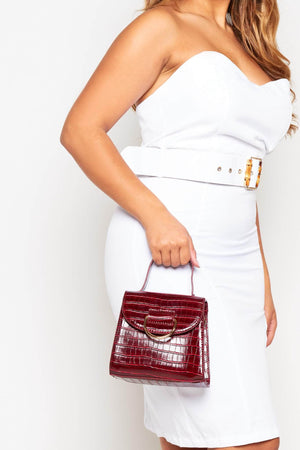Burgundy Croc Bag with Gold Ring Detail