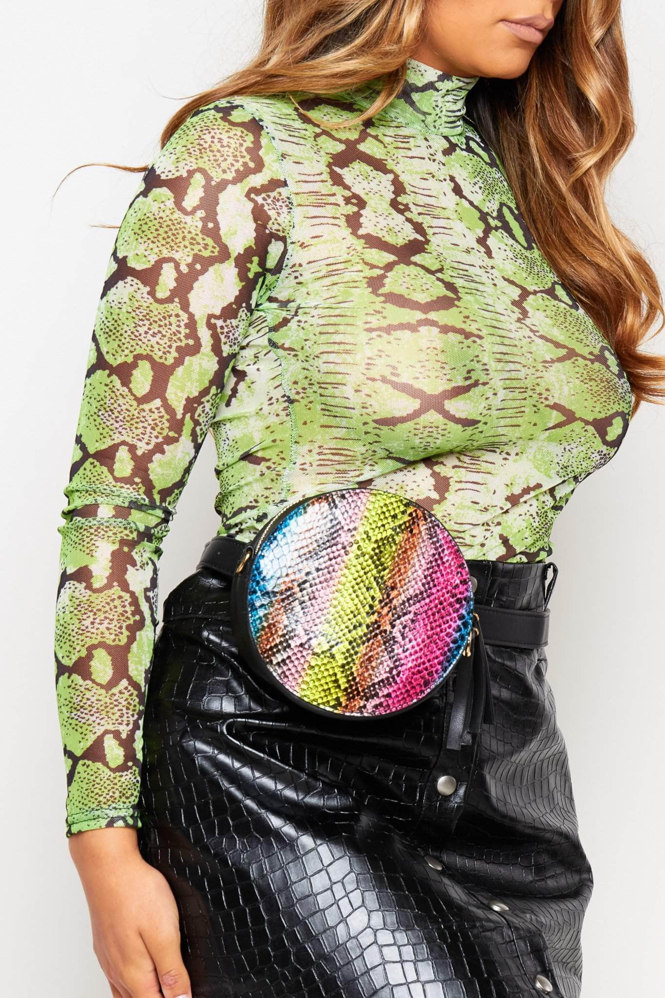 Multicoloured Snake Pu Circle Crossbody Bag