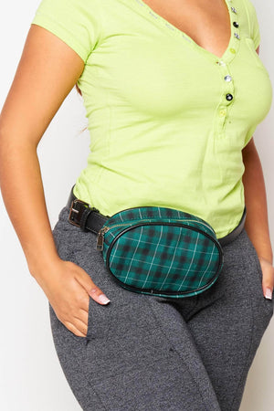 Green Tartan Oval Bum Bag