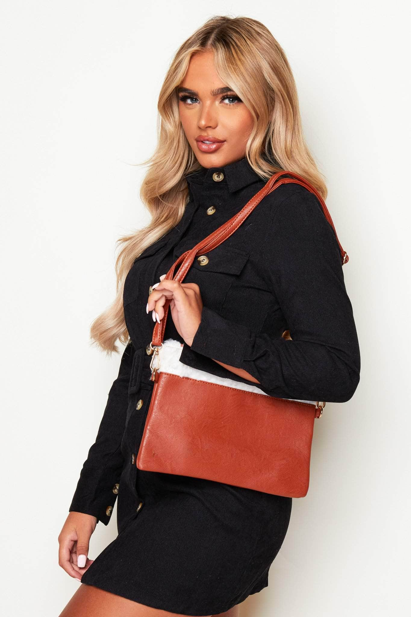 Tan Leather Rectangle Bag with Borg Detail