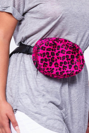 Fuchsia Faux Pony Hair Leopard Oval Bum Bag