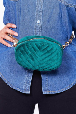 Green Velvet Chevron Oval Bum Bag