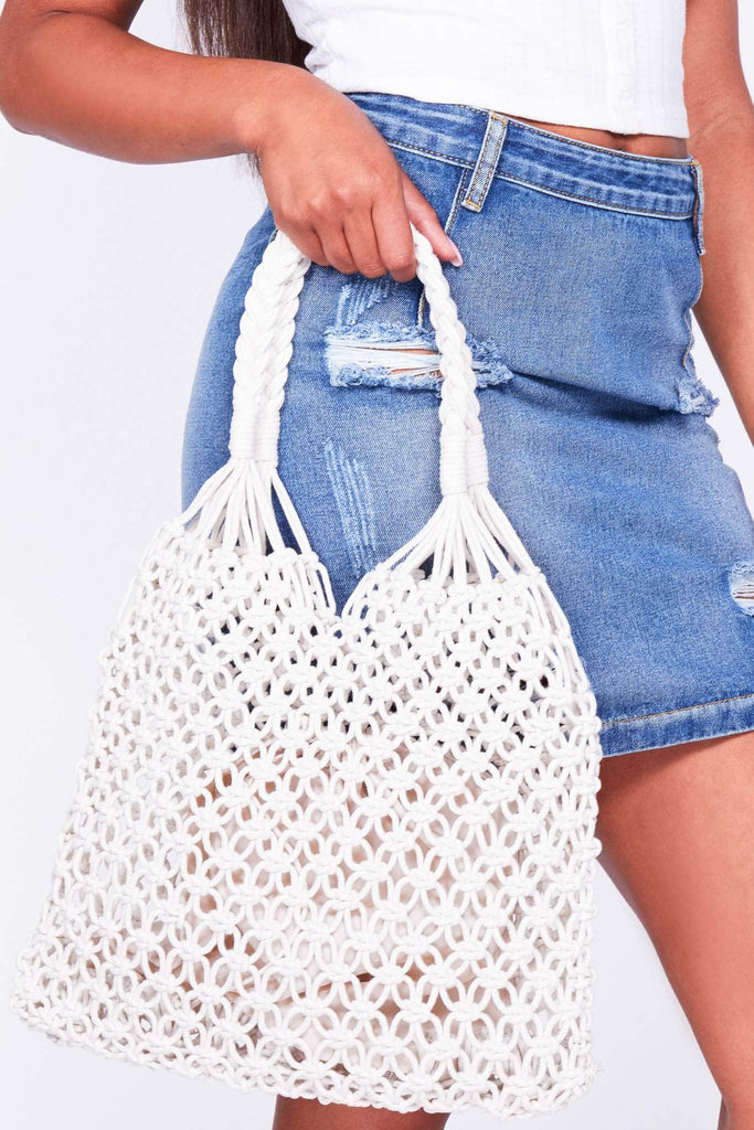 White Macrame Crochet Tote Bag
