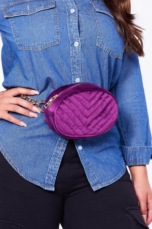 Purple Velvet Chervon Oval Bum Bag