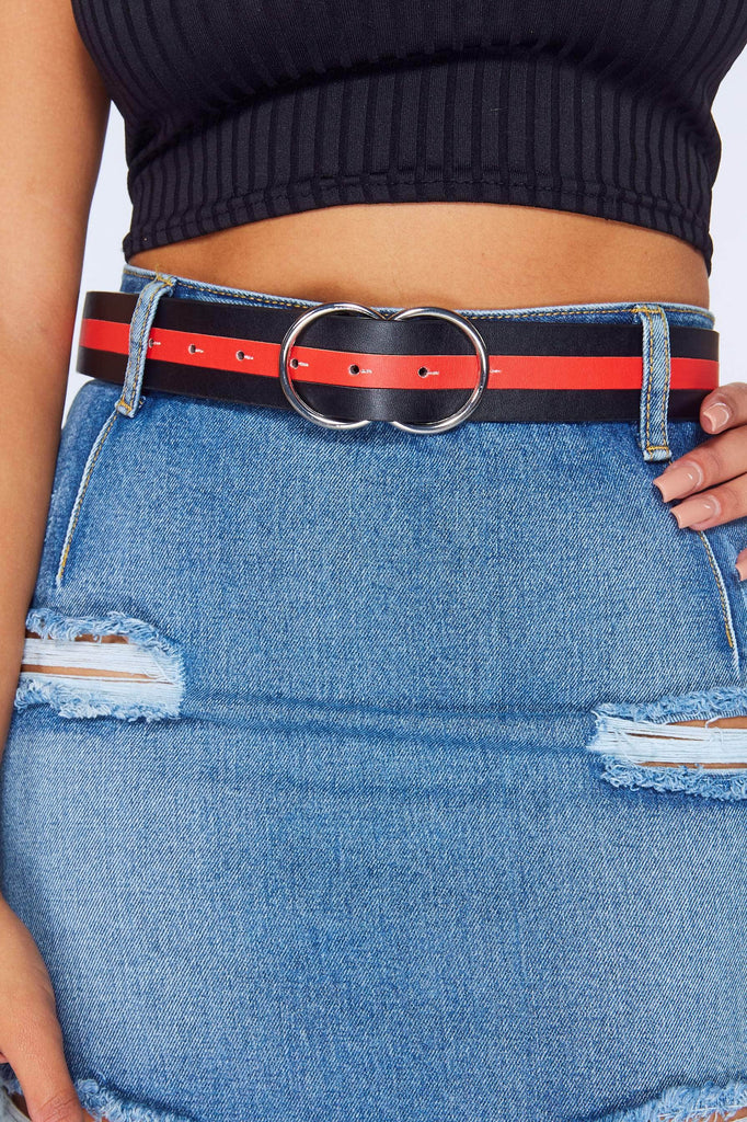 Black & Red Pu Stripe Double Circle Buckle Belt