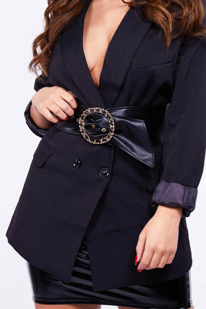 Black Wide Waist Belt with Gold Buckle