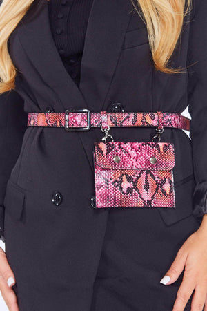 Pink Snake Pu Belt Bum Bag