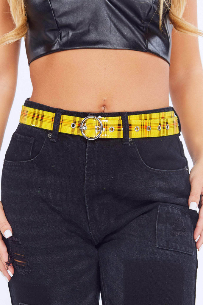Yellow Perspex Checked Belt