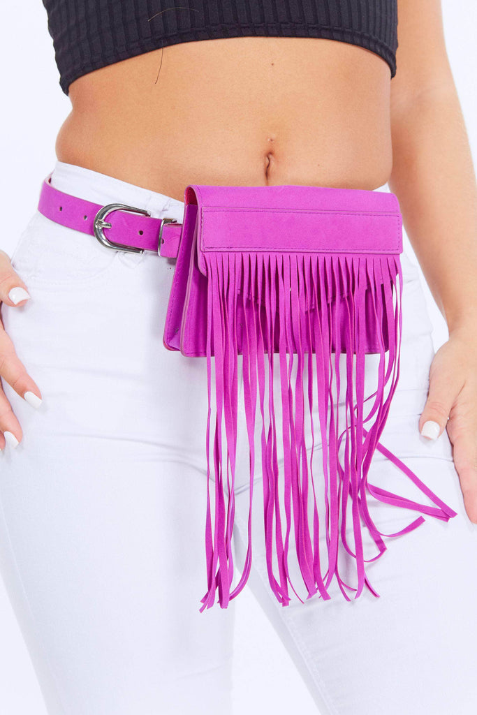 Purple Suede Tassel Belt Bag