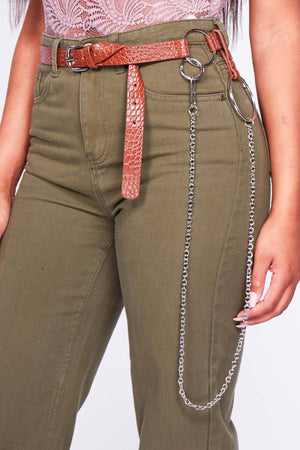 Brown Pu Belt with Chain Link