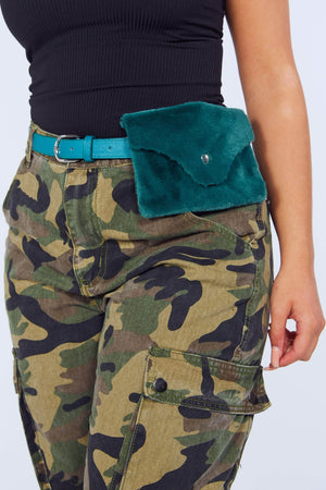 Green Faux Fur Belted Pouch Envelope Bag