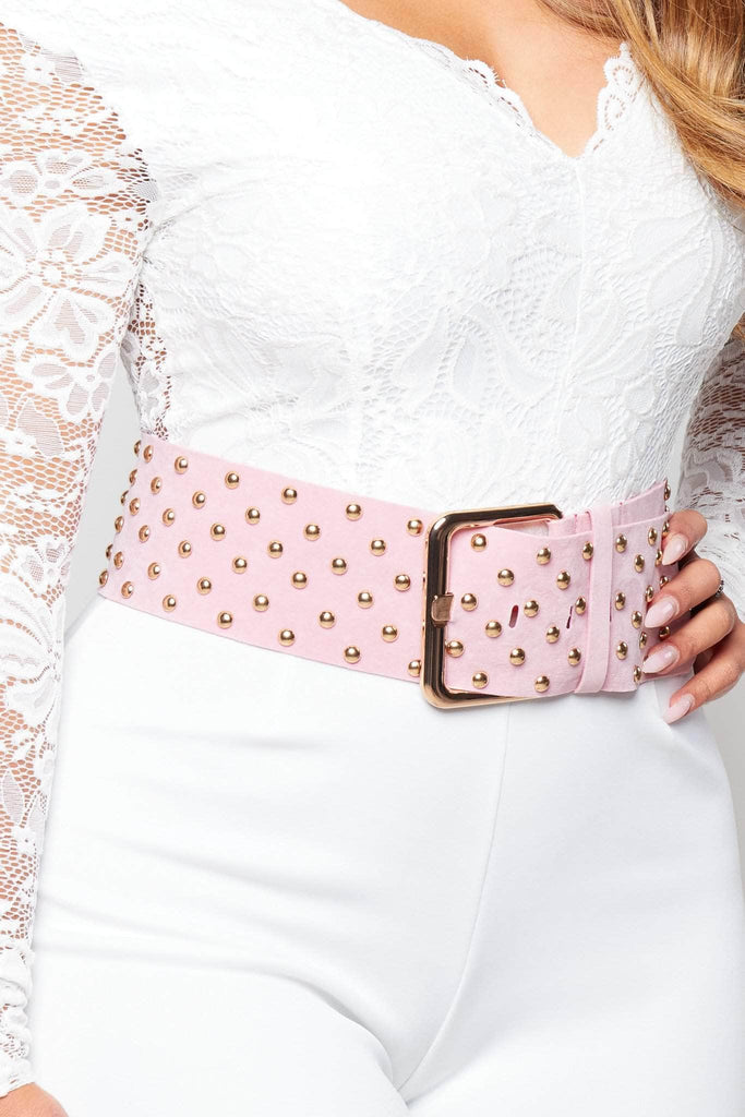 Pink Faux Suede Belt with Gold Studs