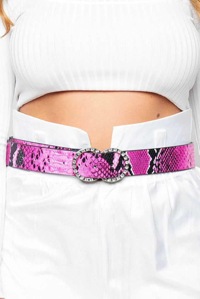 Pink Snake Belt with Diamante Double Circle Buckle