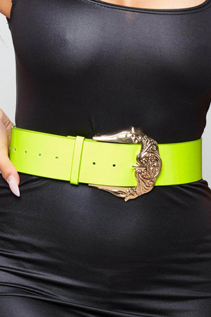 Lime Green Belt with Chunky Western Buckle