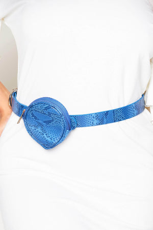Blue Snake Circle Belt Bag