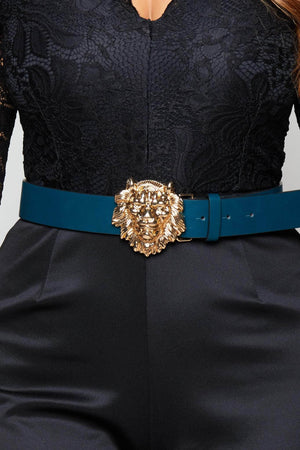 Forest Green Belt with Lion Head Buckle