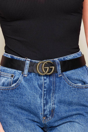 Black Double G Textured Belt