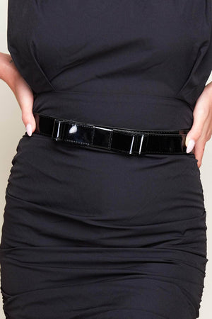 Black Patent Bow Belt