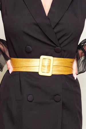 Cracked Gold Soft Pu Waist Belt with Square Buckle