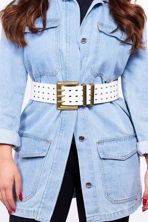 White Chunky Triple Pong Waist Belt