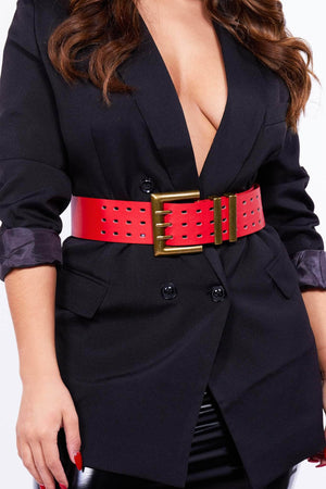 Red Chunky Triple Pong Waist Belt