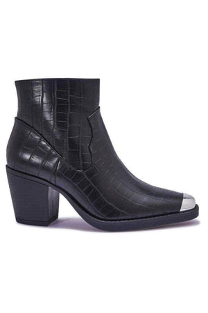 Black Croc Western Ankle Boots with Metal Toe Cap